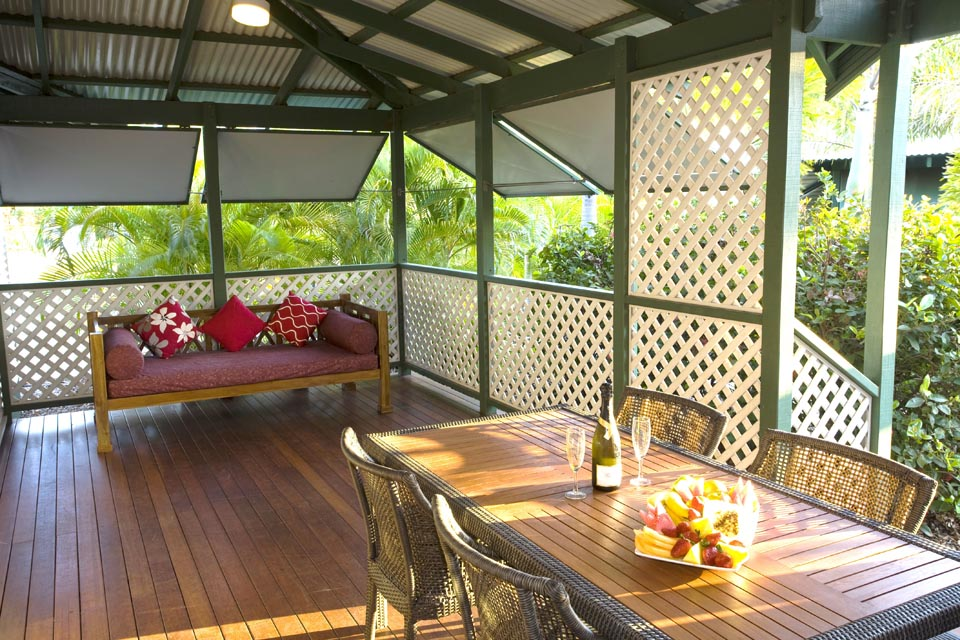 verandah with alfresco dining and day bed